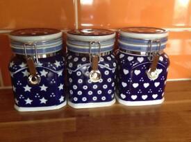 CERAMIC HAND PAINTED BLUE TEA COFFEE & SUGAR CANISTERS / STORAGE JARS