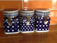 CERAMIC HAND PAINTED BLUE TEA COFFEE & SUGAR CANISTERS / STORAGE JARS