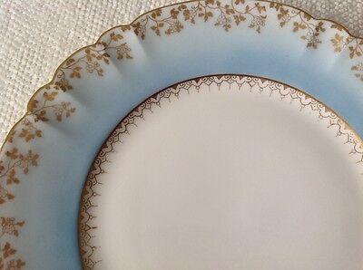 L. Sazerat Limoges France Hand Painted Dinner Plate Blue with Gilt Gold 9.5