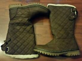 Women's Brown Fur Lined Boots Size: UK 7