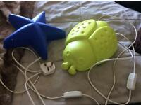 Ikea children wall night lights, blue star and lime green lady bird