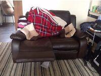 2 seater black recliner sofa