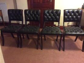Mahogany and leather dining chairs