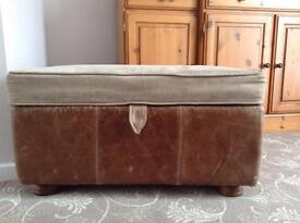 Leather and fabric foot stool/ pouffe