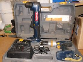 Ryobi drill and angle drill with box & charger