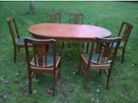 Kitchen dining table by McIntosh solid wood and 6 chairs nicely carved