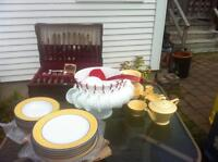 Dishes, punch bowl, flatware