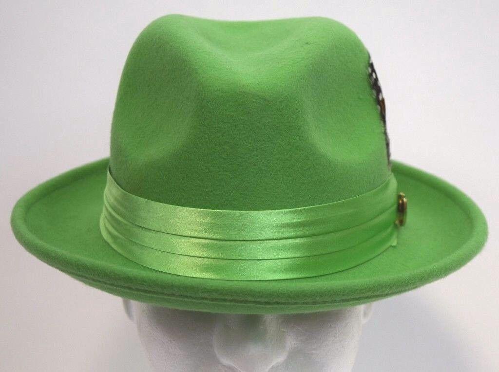 Men s Fedora Dress Hat Mint Green UN-119 Sizes S 889ecc13885e