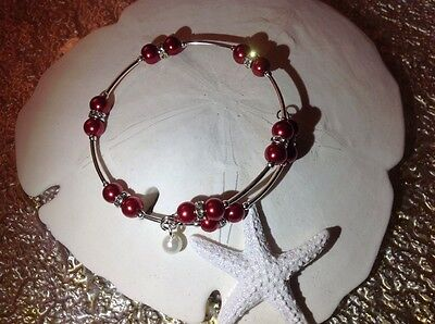 Pearl Single Wrap Bracelet - Gorgeous! *Ruby Reds* Pearl Bead Single Wire Wrap Silver Bracelet Bangle