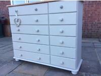 Chest of drawers - pine - painted in cream