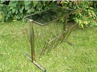 VINTAGE GOLD AND SMOKED GLASS MAGAZINE RACK SIDE TABLE