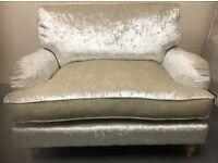 Designer Bella Starlet Ivory cream crushed velvet 2-seater sofa love seat NEW