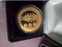Gold plated,the new cars tour coin,boxed,rare.