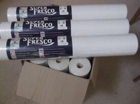 12 SEALED ROLLS of GRAHAM & BROWN SUPER FRESCO WHITE LUXURY TEXTURED PAINTABLE VINYL WALL COVERING