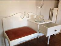 Vintage shabby chic telephone / hallway unit table with seat