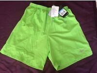 "New Nike Men's 2-in-1 Running Green Shorts Dri Fit Zippered Pocket Medium 7"""