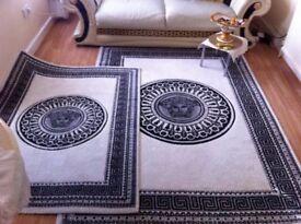 Large Rug Versace Medusa Davinci Greek key 160cmx220cm cream grey black £60 SALE living room