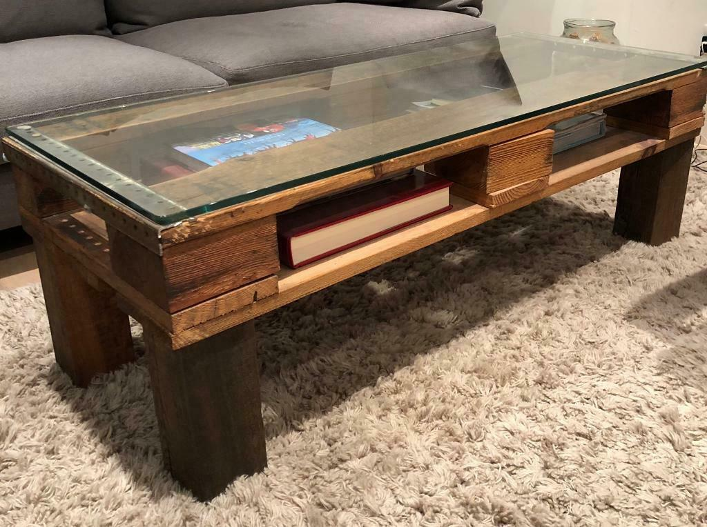 Reclaimed Recycled Wood Glass Coffee Table Industrial Style In