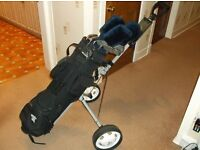 Golf Clubs, trolley, and bag