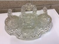 Vintage Cut-Glass Seven Piece Dressing Table Set