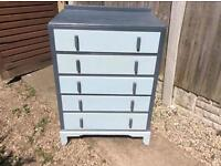 Solid Oak 1960's tall set of drawers