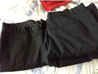 Three pairs men's black trousers