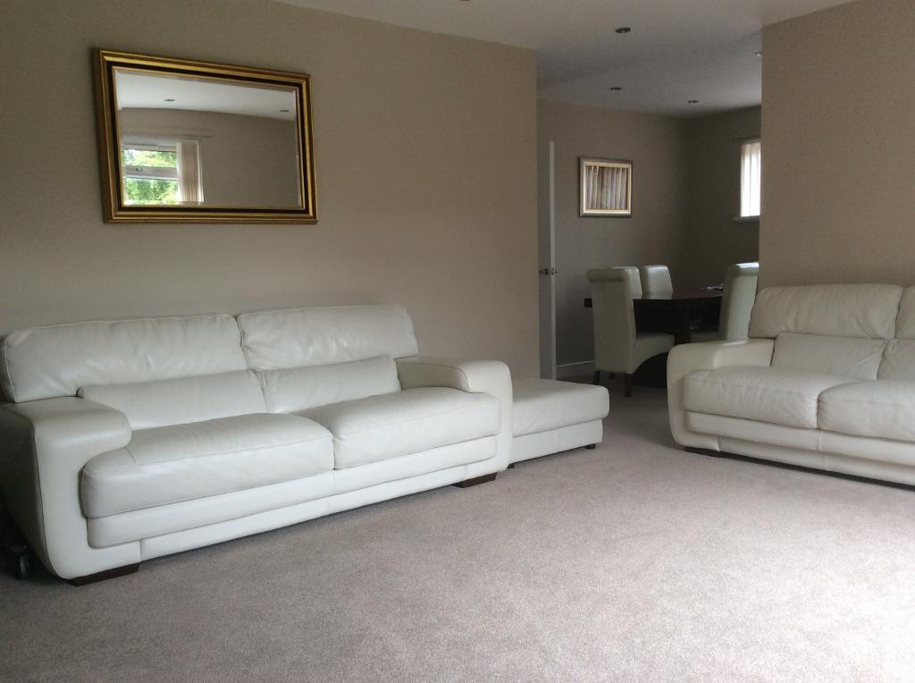 Stunning Cream Sofitalia Leather Sofa Set 4 Seater Amp 3