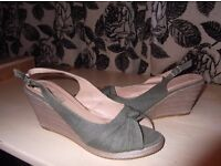 Lovely green canvas open toe wedge shoes