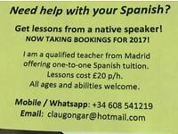 SPANISH TUTOR: LESSONS £20