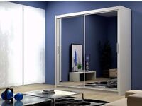 *NEW* - LARGE MIRRORED WARDROBE in BLACK or WHITE (204cm wide) + FREE ASSEMBLY + FREE LOCAL DELIVERY