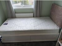Single divan bed, mattress and headboard