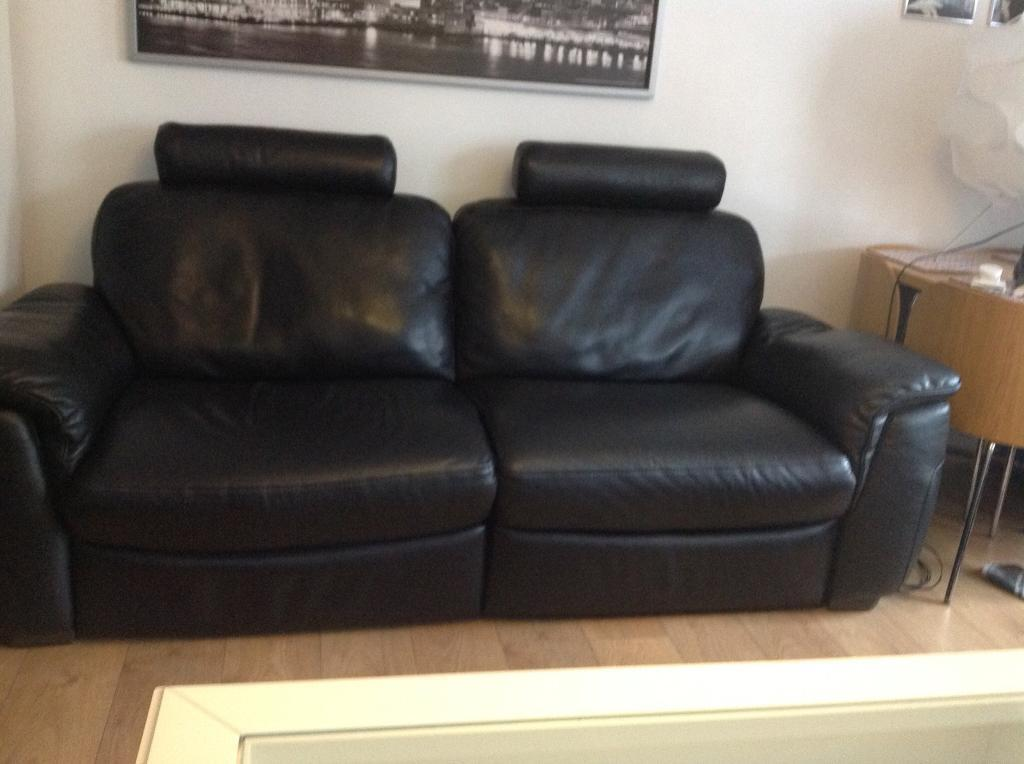 Black Leather Natuzzi 3 Seater Electric Recliner Sofa And 2 Seater Non  Recliner