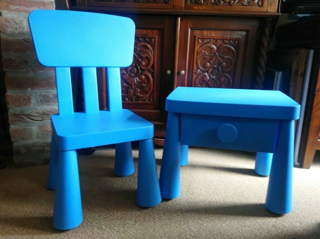 Childu0027s Blue Bedside Table And Matching Chair   SOLD