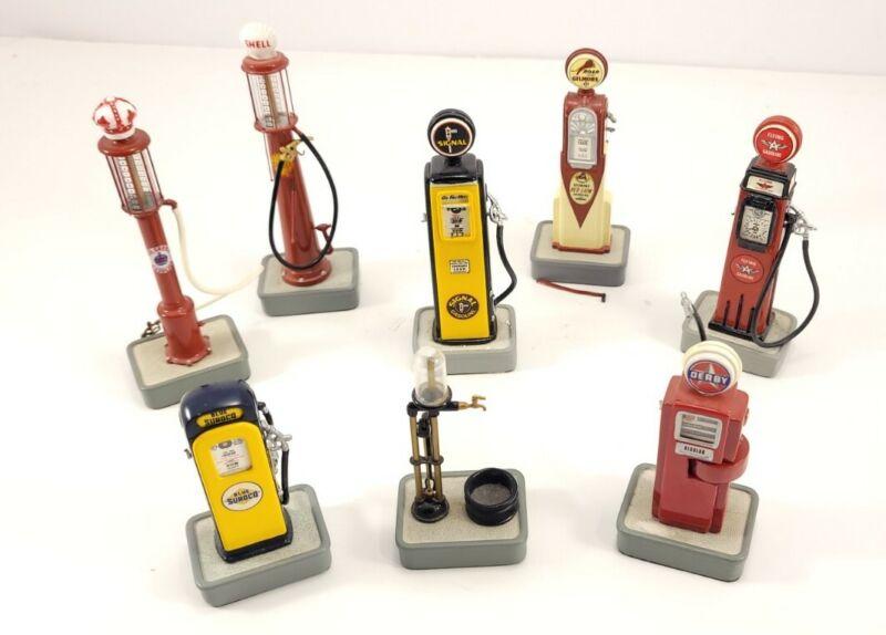LOT - 8 Danbury Mint 1/8 Gas Pumps (Flying A, Tokheim, Wayne, Shell, Dome, etc!)