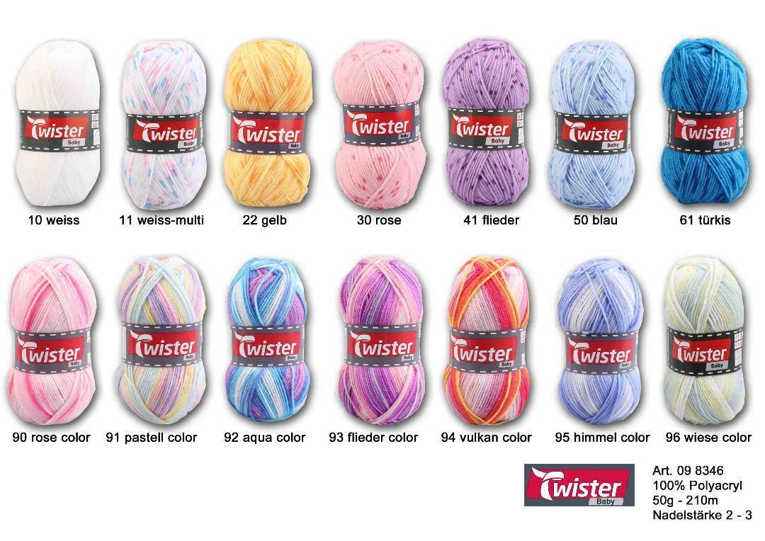 Twister Baby 50 g Babywolle  stricken häkeln Farbauswahl