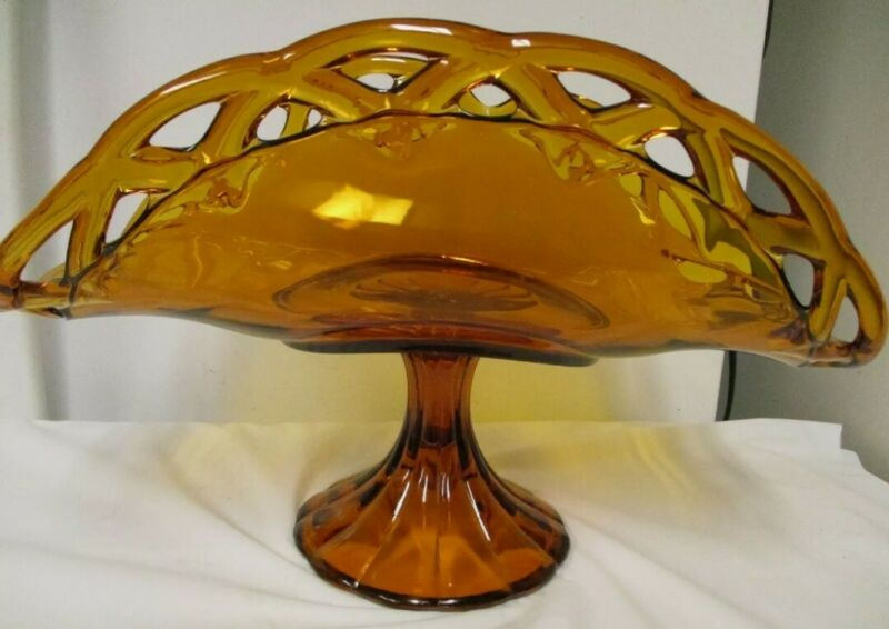 INDIANA GLASS BANANA BOAT CENTERPIECE COLONY OPEN LACE EDGE COMPOTE FRUIT BOWL