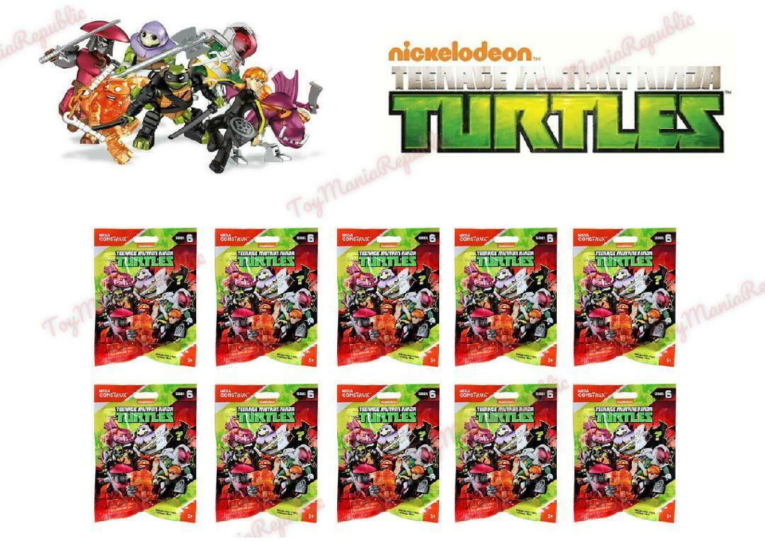 Lot of 10 - Mega Construx Teenage Mutant Ninja Turtles Series 6 Blind Bags TMNT