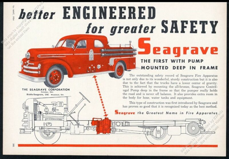 1954 Seagrave fire engine truck photo & chassis art vintage trade print ad