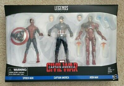 MARVEL LEGENDS CAPAIN AMERICA CIVIL WAR Three 3 Pack SPIDER MAN CAPTAIN IRON MAN