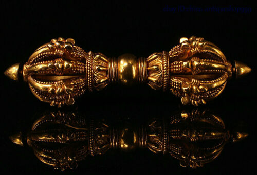 Old Tibetan Bronze 24k Gold Gilt Exorcism Amulet Vajra Phurpa Dagger Faqi Statue