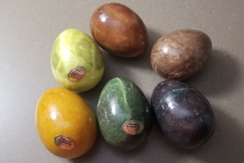 Set of 6 Genuine Alabaster Handcarved Eggs Labeled!  - Made in Italy!