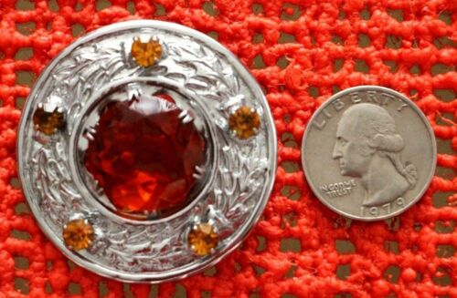 VINTAGE- MED. AMBER COLOR STONES W/ SILVER TONE -PIN / BROOCH-- FOR CAPE OR COAT