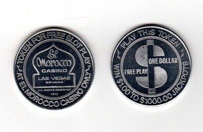 1972 EL MOROCCO CASINO ONE DOLLAR $1 FREE PLAY TOKEN LAS VEGAS NEVADA BU Semi PL