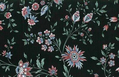 Paisley Floral Vintage Wallpaper Black Pink Blue VP2113 Double -