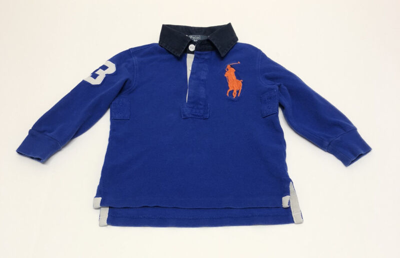 Ralph Lauren Polo Shirt 3T Boys Blue Rugby Top Collar Toddler Large Pony G1