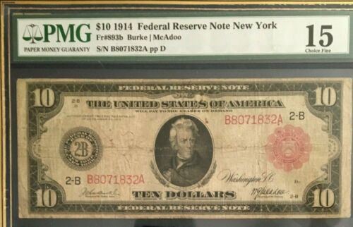 SERIES 1914 $10 PMG 15 CHOICE FINE, FEDERAL RESERVE NOTE NEW YORK RED SEAL & SN
