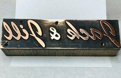 Vintage Copper Letterpress Printer Wood Block Jack Jill Logo