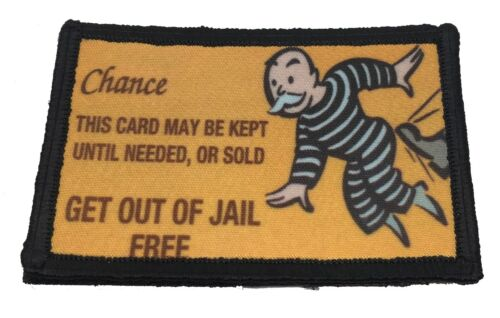 Get out of Jail Free Monopoly Morale Patch Tactical Military Army Flag Badge USA