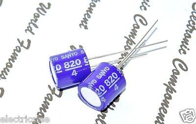4pcs-sanyo 820uf 4v Osconos-con Radial Aluminum Solid Capacitors - 4sp820m