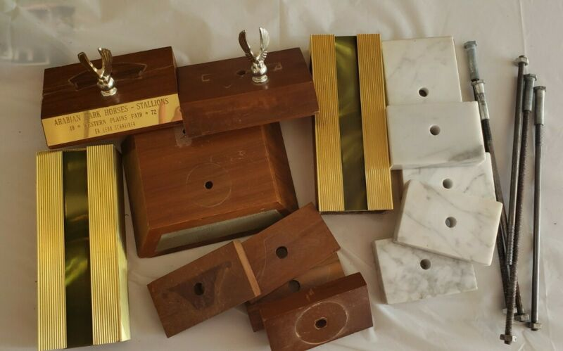 Large Lot Of Trophy Parts Wood - Metal - Marble Pieces